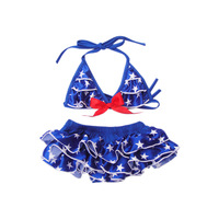 2014 New Arrive Stars Girls Swimsuit For 2-7 Years Old Two Piece Girls Bathing Suits