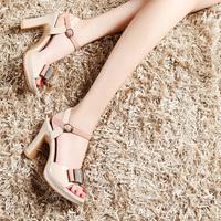 2014 summer bow women's open toe shoes platform thick heel open toe high-heeled sandals female shoe