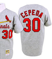 Men's St. Louis shirt #30 Orlando Cepeda retro 1967 Gray throwback road baseball jerseys wholesale authentic Stitched