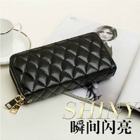 2014 women's long plaid  wallet double zipper clutch wallet cowhide  day clutch coin purse