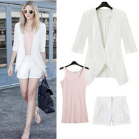 Free Shipping Fashion three-piece set women's 2014 summer blazer shorts slim vest three pieces set x915