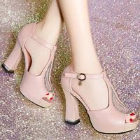 2014 fashion color block decoration sexy ultra high heels female sandals rhinestone platform open toe platform thick heel