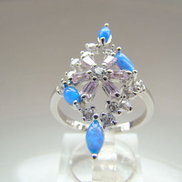 Fashion Jewelry Blue Opal Ring DR301403055R-A-2.8g Free Shipping
