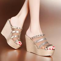 2014 summer platform high-heeled wedges sandals open toe women's shoes platform net fabric breathable sandals