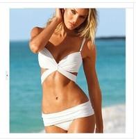 Victoria  sexy swimsuit Pure color triangle bikini Steel bracket gathered Bikini bathing suit