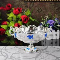 New arrival silver blue compotier quality fashion alloy fruit bowl dried fruit bowl ktv desktop bowl 2pcs/lot