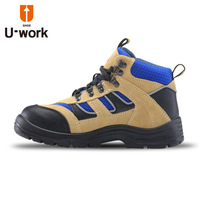 Sports paragraph medium cut safety shoes steel head PU bottom wear-resistant breathable safety boots