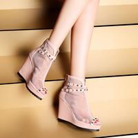 2014 spring and summer hot-selling transparent gauze open toe ankle boots female platform wedges rivet high-heeled sandals