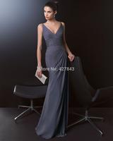 Elegant V-neck Chiffon Floor Length Long Grey Evening Dress 2014 Formal Wedding Events Dress