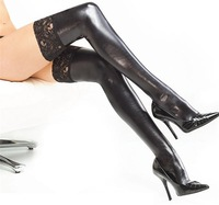 New 2014 Fashion Black Thigh High With lace top, Sexy Knee Stay Up Latex Stockings, Women's Hose Hot Club Wear