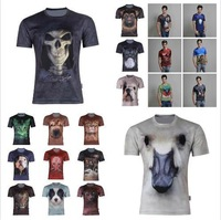 New 2014 Summer Fashion Men's 3D Dry Quickly T-Shirt.3D Animal Printed T Shirt.Casual Brand Sports T Shirts Tops Plus Size S-6XL