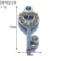 23mm Boys Vogue Rhinestone Silver Tone Alloy Key Charms,DIY Kids Jewelry Accessory,Free Shipping Retail 20pcs/lot