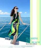 New summer dress 2014 women fashion beach dress  No shoulder stripes Bohemia and elegant Long beach dress