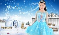 50pcs / lot 2014 New summer girls dress snow Romance ELSA girls princess dress son of Queen Aisha free shipping