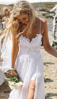 Free Shipping Sexy Fancy Beach Wedding Dresses Spaghetti Backless White white/Ivory Lace Bridal Gown