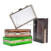 Women Transparent Lace Acrylic Perspex Clutch Clear Purse Evening Bag Handbag