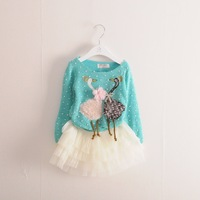 Fashion sweaters dress with swan pattern / 3pcs per lot