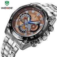 Military watches men luxury brand WEIDE full stainless steel watch luminous analog quartz 30m waterproof clock