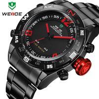 WEIDE 2015 wristwatch for men full steel watch luxury quartz analog date alarm 30m water resistant big dial watches dropship