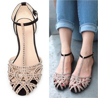 Brand flat sandals for women 2014 new arrivals cutout summer shoes sandals rhinestone fashion the sandals