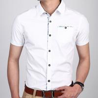 men slim fit shirt with short sleeve men short sleeve shirt casua free shipping 924
