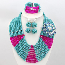 2015 New Arrival Costume Jewelry Set Fashion African Crystal Beads Set Nigerian Wedding Bridal Jewelry Free