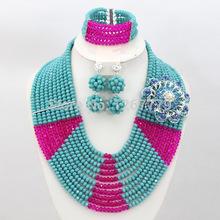 2015 New Arrival Costume Jewelry Set Fashion African Crystal Beads Set Nigerian Wedding Bridal Jewelry Free