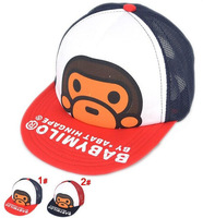 New arrive 2014! Summer / spring kids baseball hats monkey boy / girl child hat sun hats for 3-10 year old baby 2 colour
