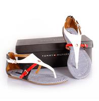 2014 cowhide flip back zipper color block decoration genuine leather flat sandals stripe sandals