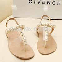 [FREE SHOPPING] 2013 open toe summer fresh pearl sandals rhinestone flat sandals flats gentlewomen shoes z3