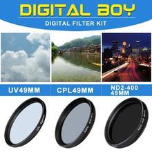 Camera & Photo! CPL 49mm Polarizing +UV Fiter+ND2-400 Neutral Density filter kit Protector for Canon Nikon Sony Olympus Camera