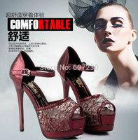 2014 summer sandals Women's fashion sexy elegant open toe ultra high heels paillette gauze platform thin heels sandals 34-38