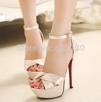 Women's fashion sexy sandal Shoes 2014 wedding shoes banquet sandals button bag satin platform full heel high-heeled shoes pink