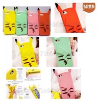 HOT 3D Pikachu Back View Pocket Monster Forest Elf Silicone Skin Back Cover Case for samsung galaxy Note3 S5 for iphone 4s 5s