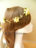 Korean women fashion summer beach vacation photos garland headdress hair accessories bridal flowers beach jewelry