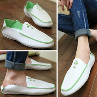 Male casual shoes fashion loafers breathable white leather shoes lazy summer male shoes