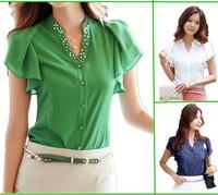 High Quality Women Blouse Top White Blue Green Blouse Ruffles Plus Size XXL Women Summer Shorts Sleeve Shir, Lady Chiffon Shirt