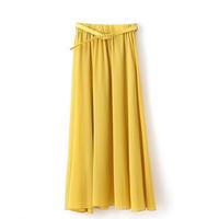 2014 summer women's chiffon pleated skirt chiffon skirt with belt bust skirt full skirt
