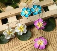 The new female Korean jewelry bohemian beach resort frangipani flower earrings  Fimo