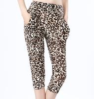 2014 spring and summer pants leopard print viscose harem pants fashion wide leg  trousers