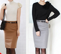 Women straight skirt woolen skirts 2014 autumn winter mid waist slim hip woolen skirt elegant OL career casual solid skirt