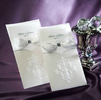 High Quality Elegant  Wedding Invitation with a nice bow ,Elegant Wedding Cards---CB9014