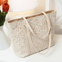 Women handbag leather shoulder bag with lace decoration free shipping