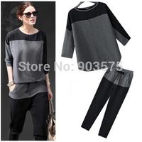 Free Shipping EU Style Chiffon Color Block O-Neck Loose Casual T-shirt Women's Three Quarter Sleeve Top+Pants 2pcs/Set