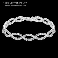Neoglory Jewelry Rhinestone Silver Engagement Charm Bangles & Bracelets for Women Wedding Jewelry Special 2014 New Arrival JS12