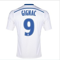 A+++14-15 new Marseille home white   #9 Gignac  soccer football jersey top thai  quality 2015 Marseille soccer uniforms jerseys