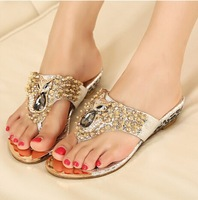 Hot Selling ! 2014 New Bohemian Sweet Style Rhinestone wedge heel flip-flop sandals ,(silver) Size 35~39 Free delivery