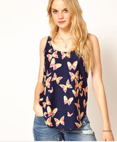 2014 Free Shipping Korean Womens Sleeveless T-Shirt Chiffon Vest Retro Butterfly Print Blouse Tops A118