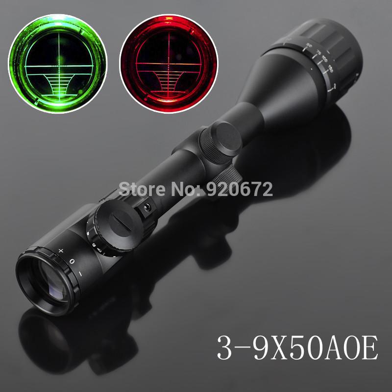 3-9X50AOE alvo da Reticle Red Green dot caça tático visão LLL noite Monocular Optical Riflescope Gunsight(China (Mainland))