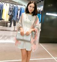 Free Shipping! 2014 New! Pure Temperament Lattice Color Edge Women Cotton Shawls  Scarves,D-052